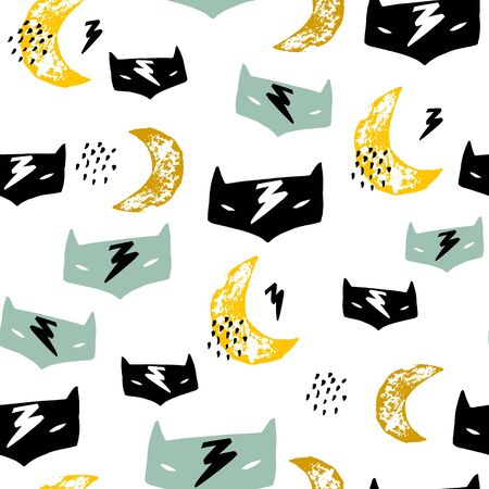 Seamless childish pattern with hero mask, flas, cloud. Creative kids texture for fabric, wrapping, textile, wallpaper, apparel. Vector illustration