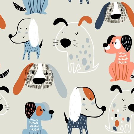 Seamless pattern with funny dogs. Creative childish texture in scandinavian style. Great for fabric, textile Vector Illustration Banco de Imagens - 131824747