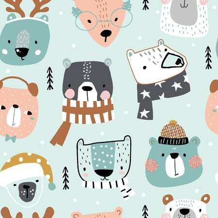 Seamless childish pattern with cute holiday bear in hat, scarf. Creative winter kids hand drawn texture for fabric, wrapping, textile, wallpaper, apparel. Vector illustration