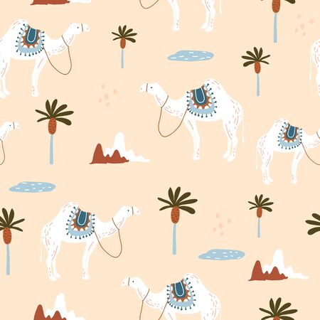 Seamless pattern with camels in desert. Creative scandinavian style kids texture for fabric, wrapping, textile, wallpaper, apparel. Vector illustration