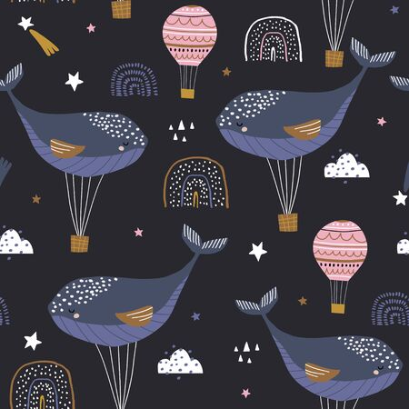 Seamless childish pattern with sleeping whales hot air balloons. Creative kids hand drawn texture for fabric, wrapping, textile, wallpaper, apparel. Vector illustration Stockfoto