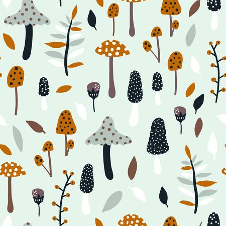 Seamless jungle pattern with mushrooms and floral elements. Creative autumn texture for fabric, wrapping, textile, wallpaper, apparel. Vector illustration Stockfoto