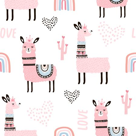Seamless pattern with llama princess hearts, cactus and hand drawn elements. Creative childish texture. Great for fabric, textile Vector Illustration Stockfoto