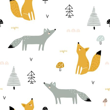 Seamless forest pattern with foxes, trees, mushrooms. Creative kids for fabric, wrapping, textile, wallpaper, apparel. Vector illustration