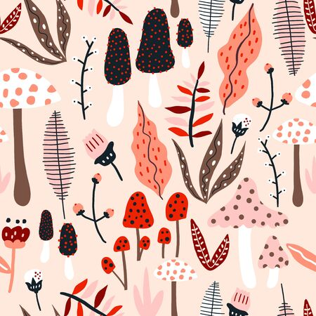 Seamless jungle pattern with mushrooms and floral elements. Creative autumn texture for fabric, wrapping, textile, wallpaper, apparel. Vector illustration Stock fotó
