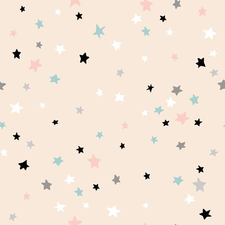 Seamless abstract pattern with stars. Creative kids texture for fabric, wrapping, textile, wallpaper, apparel. Vector illustration