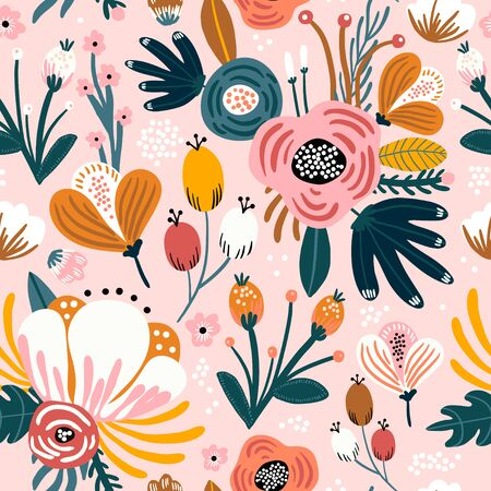 Seamless pattern with flowers, berries and leaves. Creative floral texture. Great for fabric, textile Vector Illustration Stock fotó