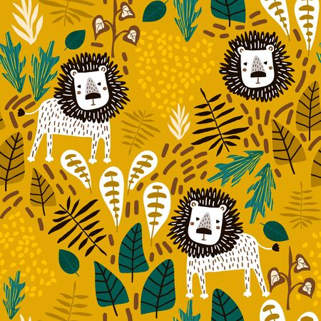 Seamless jungle pattern with lions and tropical elements. Creative kids for fabric, wrapping, textile, wallpaper, apparel. Vector illustration