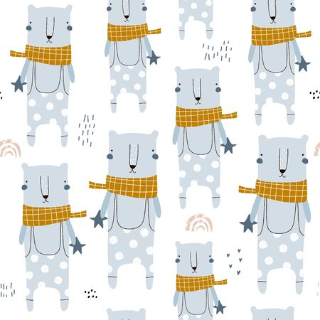 Seamless childish pattern with cute hand drawn bears. Creative winter kids hand drawn texture for fabric, wrapping, textile, wallpaper, apparel. Vector illustration