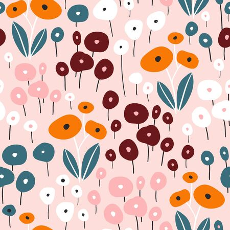 Seamless pattern with flowers. Creative minimalistic floral texture. Great for fabric, textile Vector Illustration