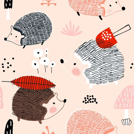 Seamless autumn pattern with hedgehogs and mushrooms. Creative scandinavian background. Perfect for kids apparel,fabric, textile, nursery decoration,wrapping paper.Vector Illustration