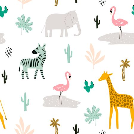 Seamless childish pattern with african animals. Creative scandinavian kids texture for fabric, wrapping, textile, wallpaper, apparel. Vector illustration Stock Illustratie