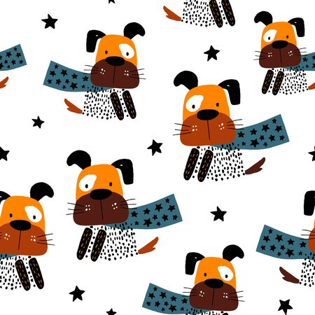 Seamless pattern with hand ink drawn dog hero. Creative childish texture in scandinavian style. Great for fabric, textile Vector Illustration Stock Illustratie