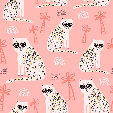 Seamless pattern with hand drawn cheetah. Creative childish trendy texture for fabric, wrapping, textile, wallpaper, apparel. Vector illustration