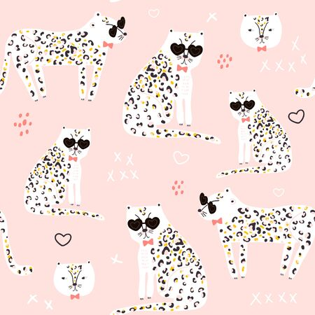Seamless pattern with hand drawn cheetah. Creative childish trendy texture for fabric, wrapping, textile, wallpaper, apparel.  illustration