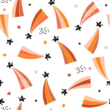 Seamless abstract pattern with retro comets. Creative kids texture for fabric, wrapping, textile, wallpaper, apparel. Vector illustration Stock Illustratie