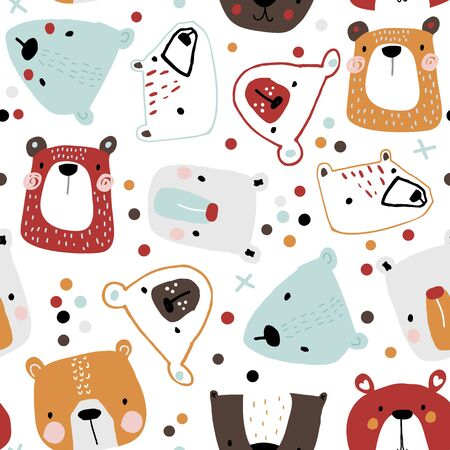 Seamless childish pattern with cute bear faces. Creative kids hand drawn texture for fabric, wrapping, textile, wallpaper, apparel. Vector illustration Illusztráció