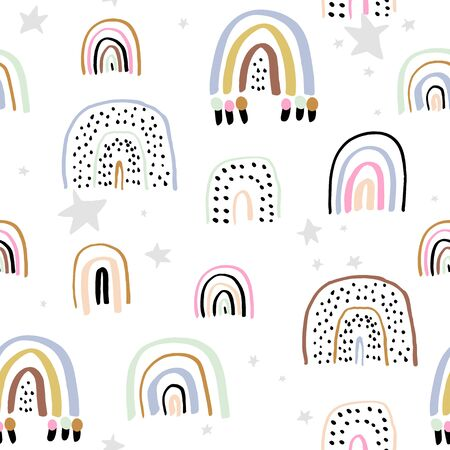 Childish seamless pattern with hand drawn rainbows. Trendy kids vector background.