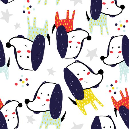 Seamless pattern with funny colorful dogs. Creative childish texture in scandinavian style. Great for fabric, textile Vector Illustration Stock Illustratie
