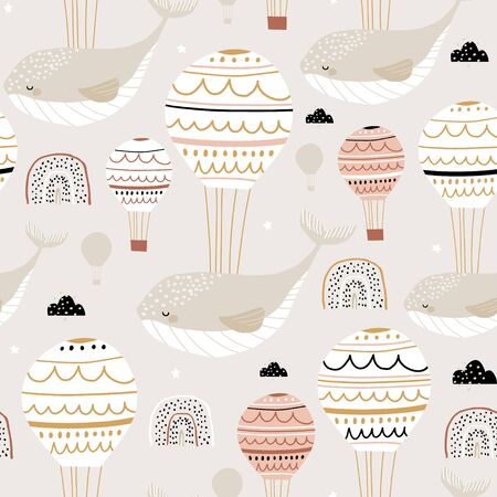 Seamless childish pattern with sleeping whales hot air balloons. Creative kids hand drawn texture for fabric, wrapping, textile, wallpaper, apparel. Vector illustration Ilustração
