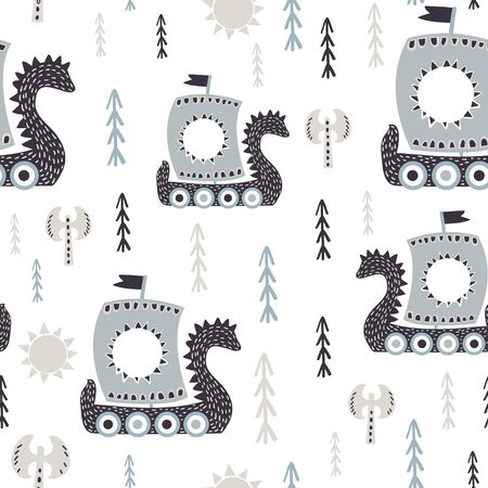 Baby seamless pattern with viking ships. Trendy scandinavian vector background. Ideal for childrens clothing, fabric, textile, baby decoration, wrapping paper.