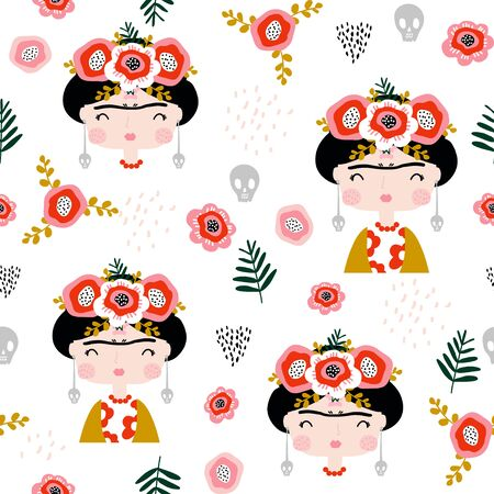 Seamless childish pattern  portrait . Creative kids hand drawn texture for fabric, wrapping, textile, wallpaper, apparel. Vector illustration