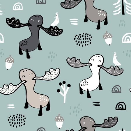 Seamless childish pattern with mooses in the forest. Creative woodland texture for fabric, wrapping, textile, wallpaper, apparel. Vector illustration