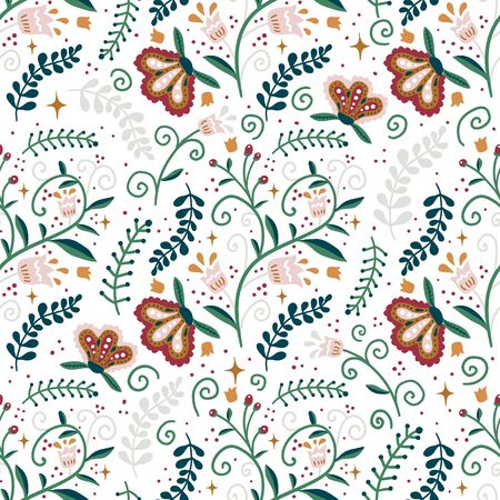 Seamless winter floral pattern . Creative holiday vintage floral texture. Great for fabric, textile Vector Illustration
