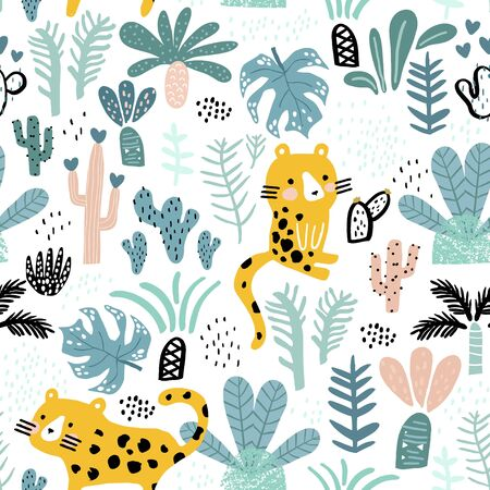 Seamless jungle pattern with cheetah in jungle, branches, palm leaves. Creative floral texture. Great for fabric, texture Vector Illustration Stock Illustratie