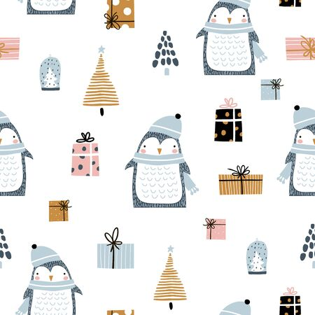 Seamless pattern with cute penguins, gift boxes, winter tree. Creative winter greeting texture. Great for fabric, textile Vector Illustration Stock Illustratie