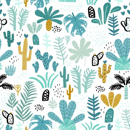 Seamless jungle pattern with cactuses, branches, palm leaves. Creative floral texture. Great for fabric, textile Vector Illustration