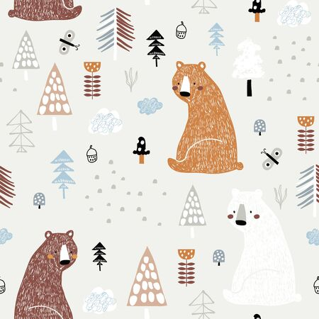 Seamless childish pattern with cute bears in the wood. Creative kids forest texture for fabric, wrapping, textile, wallpaper, apparel. Vector illustration Foto de archivo - 134080438