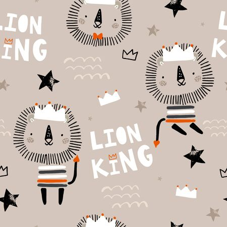 Seamless childish pattern with cute lion king, crowns, stars. Creative scandinavian style kids texture for fabric, wrapping, textile, wallpaper, apparel. Vector illustration Stock Illustratie