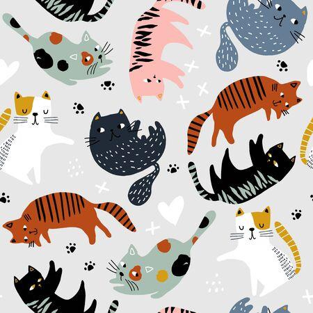 Seamless childish pattern with colorful cats in different poses . Creative kids hand drawn texture for fabric, wrapping, textile, wallpaper, apparel. Vector illustration