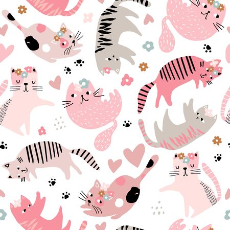 Seamless childish pattern with cute girl cats . Creative kids hand drawn texture for fabric, wrapping, textile, wallpaper, apparel. Vector illustration Stock Illustratie