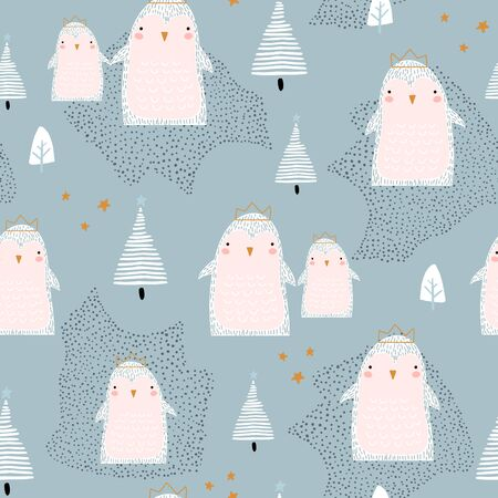 Seamless pattern with cute penguins in crowns and hand drawn elements. Creative winter childish texture. Great for fabric, textile Vector Illustration Stock Illustratie