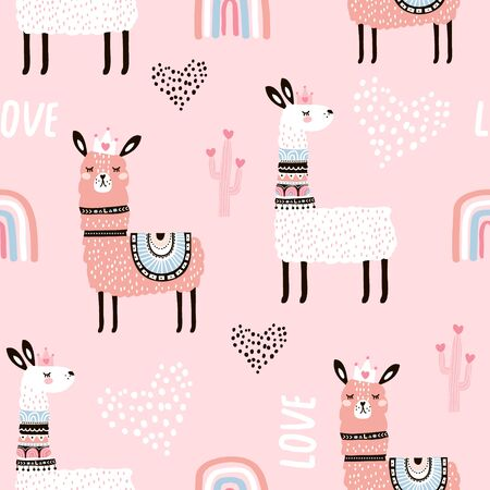 Seamless pattern with llama princess hearts, cactus and hand drawn elements. Creative childish texture. Great for fabric, textile Vector Illustration Stock Illustratie