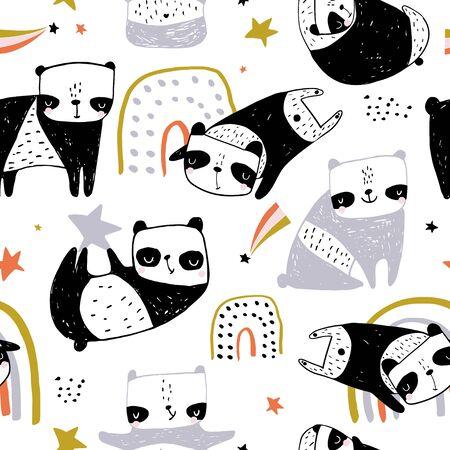 Motif enfantin sans couture avec des pandas dessinés à la main. Texture monochrome créative pour tissu, emballage, textile, papier peint, vêtements. Illustration vectorielle