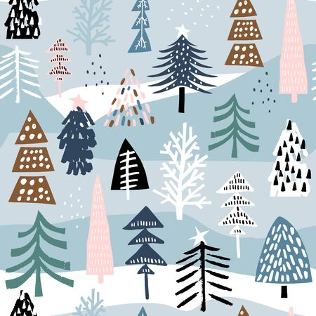 Seamless winter pattern with colorful christmas tree. Creative holiday texture. Great for fabric, textile Vector Illustration