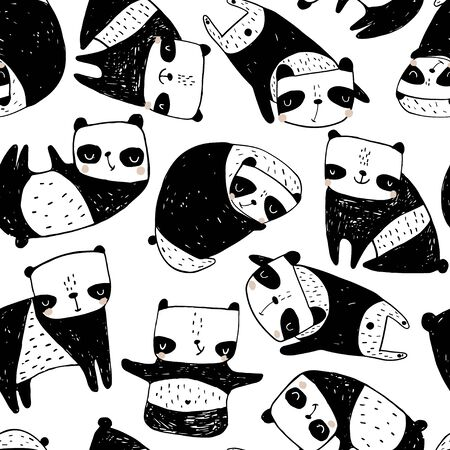 Seamless childish pattern with hand drawn pandas. Creative monochrome texture for fabric, wrapping, textile, wallpaper, apparel. Vector illustration