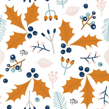 Seamless winter floral pattern . Creative holiday floral texture. Great for fabric, textile Vector Illustration
