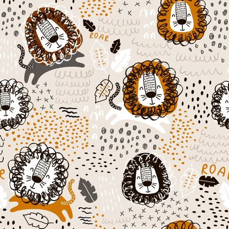 Childish seamless pattern with hand drawn lions. Trendy scandinavian vector background. Perfect for kids apparel,fabric, textile, nursery decoration,wrapping paper