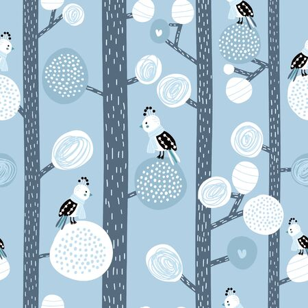 Seamless pattern with birds in scarf on trees. Winter forest creative texture. Vector illustration