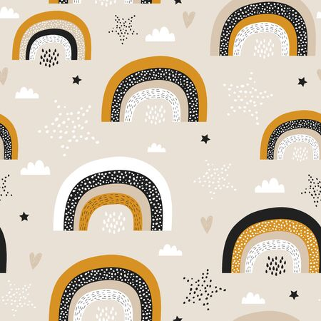 Childish seamless pattern with creative rainbows, stars. Trendy kids vector background. Perfect for kids apparel, fabric, textile