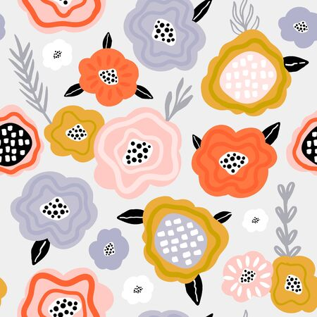 Seamless pattern with scandinavian style flowers. Creative spring floral texture. Great for fabric, textile Vector Illustration Stock Illustratie