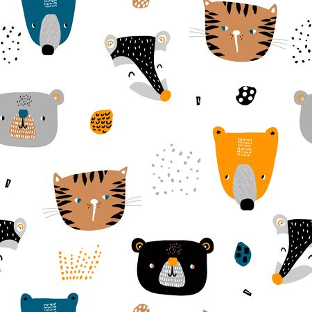 Seamless childish pattern with cute animal faces and hand drawn textures. Creative kids hand drawn texture for fabric, wrapping, textile, wallpaper, apparel. Vector illustration