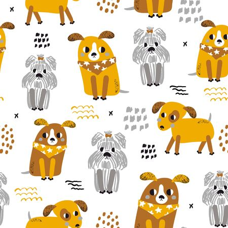 Childish seamless pattern with funny dogs. Trendy scandinavian vector background. Perfect for kids apparel,fabric, textile, nursery decoration,wrapping paper Stock Illustratie