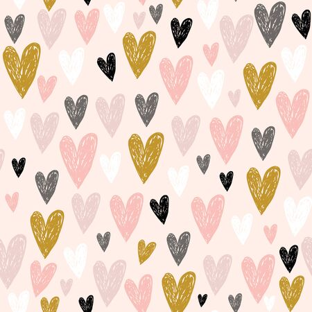 Seamless childish pattern with pink hand drawn hearts.Creative scandinavian kids texture for fabric, wrapping, textile, wallpaper, apparel. Vector illustration