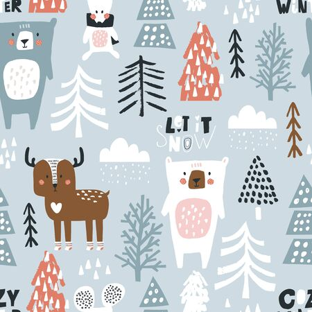 Seamless winter pattern with bear, mouse, deer and christmas tree. Creative holiday texture. Great for fabric, textile Vector Illustration