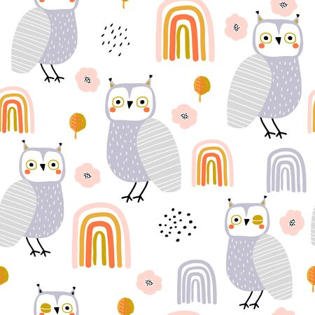 Seamless pattern with owls and rainbows. Creative holiday texture. Great for fabric, textile Vector Illustration